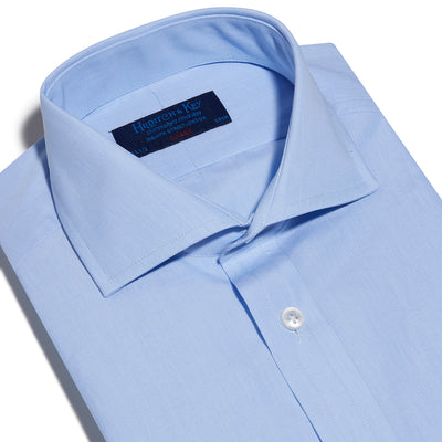 Classic Fit, Cutaway Collar, Double Cuff Shirt In Light Blue End On End