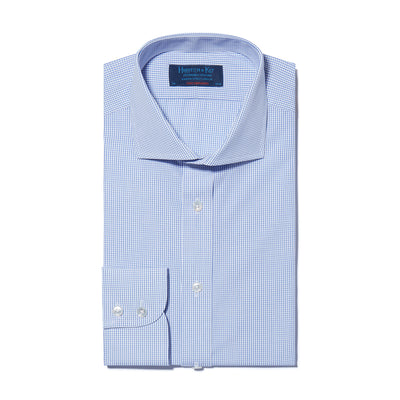 Contemporary Fit, Cut-away Collar, 2 Button Cuff Shirt In Blue & White Check