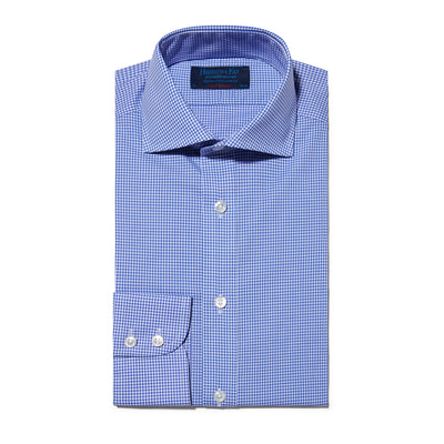 Contemporary Fit, Cutaway Collar, Two Button Cuff Shirt In Blue & White Fine Check