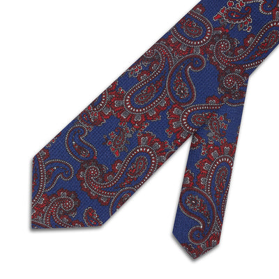Blue With Red Paisley Woven 100 % Cashmere Tie