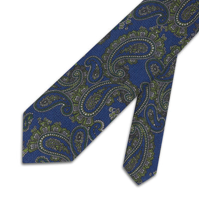 Blue With Green Paisley Printed 100 % Cashmere Tie