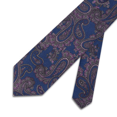 Blue With Purple Paisley Printed 100 % Cashmere Tie