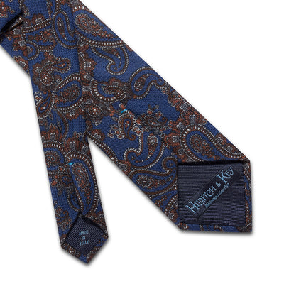 Blue With Brown Paisley Printed 100 % Cashmere Tie