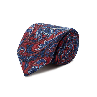 Red & Blue Paisley Printed 100% Cashmere Tie