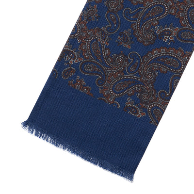 Blue & Brown Paisley 100% Cashmere Tubular Scarf