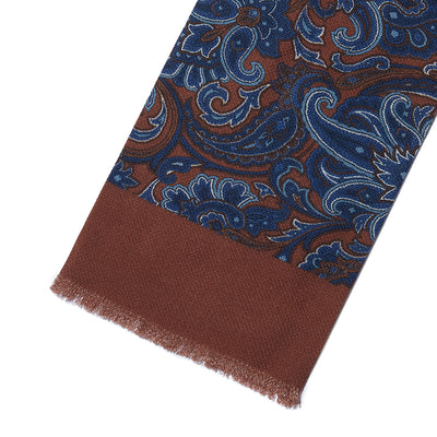Brown & Blue Paisley 100% Cashmere Tubular Scarf