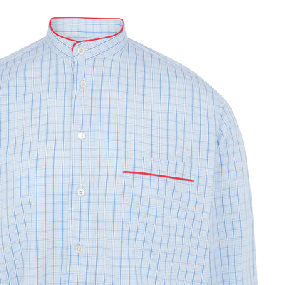 Blue & White Check With Red Piping 100% Cotton Nightshirt