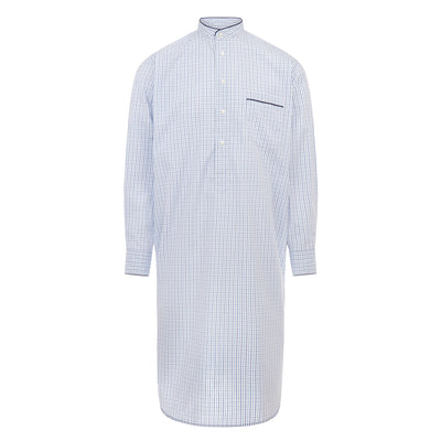 White With Blue & Navy Check With Navy Piping 100% Cotton Nightshirt