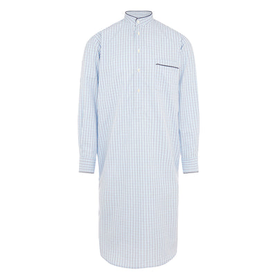 White With Navy Check With Navy Piping 100% Cotton Nightshirt