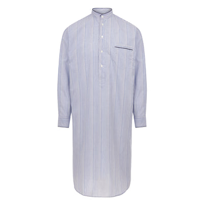 Navy Stripe With Navy Piping 100% Cotton Nightshirt