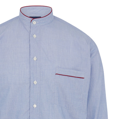 Plain Blue With Red Piping 100% Cotton Nightshirt