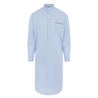 Plain Light Blue With Navy Piping 100% Cotton Nightshirt