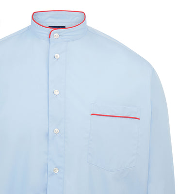 Plain Light Blue With Red Piping 100% Cotton Nightshirt