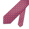 Red With Blue & White Flowers Printed Silk Tie