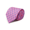 Pink With Blue & White Flowers Printed Silk Tie