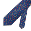 Navy With Red & Yellow Paisley Printed Silk Tie