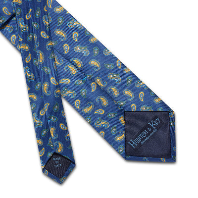 Navy With Yellow & Green Paisley Printed Silk Tie