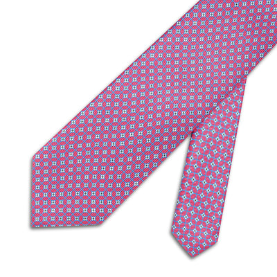Pink With Blue Overcheck Printed Silk Tie