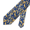 Navy & Yellow Paisley Printed Silk Tie