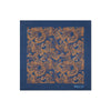 Navy 100% Cotton Handkerchief With Gold Paisley