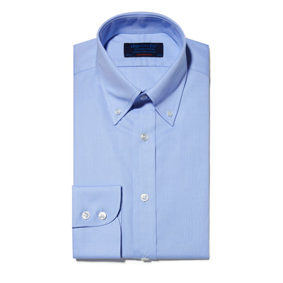 Contemporary Fit, Button Down Collar, Two Button Cuff Shirt In Blue Oxford