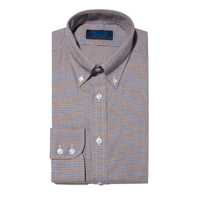 Contemporary Fit, Button Down Collar, Two Button Cuff Shirt In Navy, Brown & White Houndstooth Check