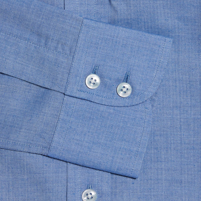 Contemporary Fit, Button Down Collar, Two Button Cuff Shirt In Blue Herringbone