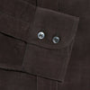 Contemporary Fit, Button Down Collar, Two Button Cuff Shirt In Brown Ribbed