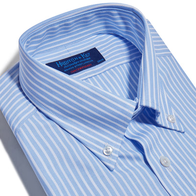 Contemporary Fit, Button Down Collar, Two Button Cuff Shirt In White with Blue Line Stripe