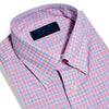 Contemporary Fit, Button Down Collar, Two Button Cuff Shirt In Blue With Pink Overcheck