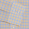 Contemporary Fit, Button Down Collar, Two Button Cuff Shirt In Yellow With Blue Overcheck