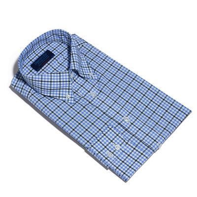Contemporary Fit, Button Down Collar, Two Button Cuff Shirt In Blue & White With Green Overcheck