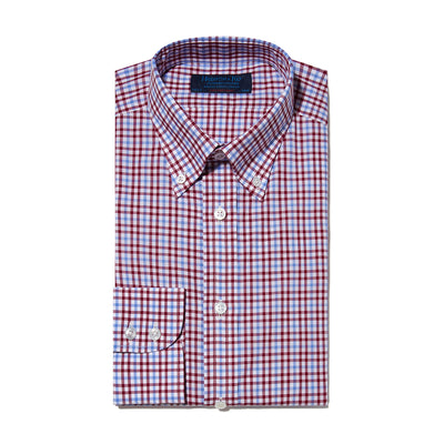 Contemporary Fit, Button Down Collar, Two Button Cuff Shirt In Blue & White With Red Overcheck