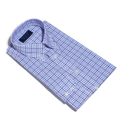 Contemporary Fit, Button Down Collar, Two Button Cuff Shirt In White & Blue With Purple Overcheck