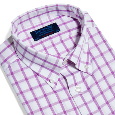 Contemporary Fit, Button Down Collar, Two Button Cuff Shirt In White With Pink Overcheck Oxford