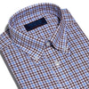 Contemporary Fit, Button Down Collar, Two Button Cuff Shirt In White & Blue With Brown Overcheck