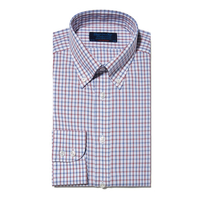 Contemporary Fit, Button Down Collar, Two Button Cuff Shirt In White With Red & Blue Line Overcheck