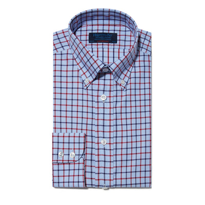 Contemporary Fit, Button Down Collar, Two Button Cuff Shirt In Blue & White With Navy & Red Check
