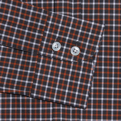 Contemporary Fit, Button Down Collar, Two Button Cuff Shirt In Brown With Orange & White Overcheck