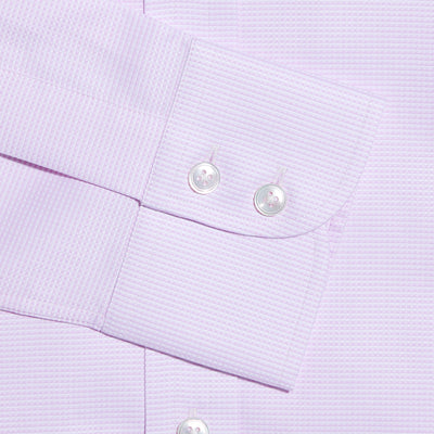 Contemporary Fit, Button Down Collar, Two Button Cuff Shirt In White & Pink Micro Check