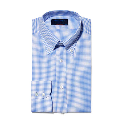 Contemporary Fit, Button Down Collar, Two Button Cuff Shirt In White With Light Blue Overcheck