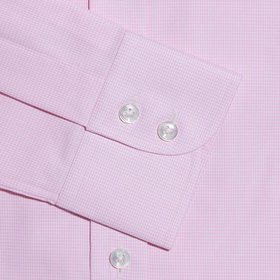 Contemporary Fit, Button Down Collar, Two Button Cuff Shirt In Pink & White Micro Houndstooth