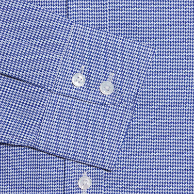 Contemporary Fit, Button Down Collar, Two Button Cuff Shirt In Purple & White Houndstooth