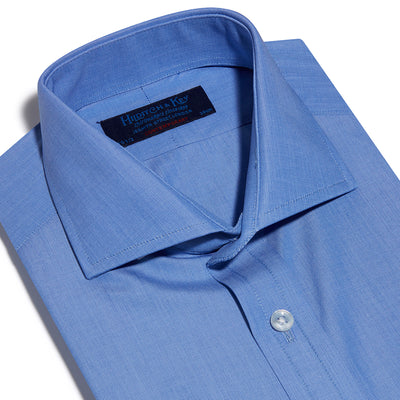 Contemporary Fit, Cutaway Collar, Two Button Cuff Shirt In Plain Blue