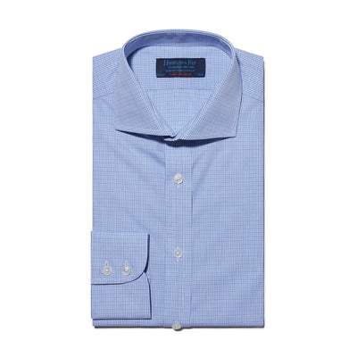 Contemporary Fit, Cutaway Collar, Two Button Cuff Shirt In Blue Broken Line Check