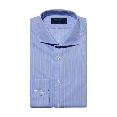 Contemporary Fit, Cutaway Collar, Two Button Cuff Shirt In Blue With White Stripe