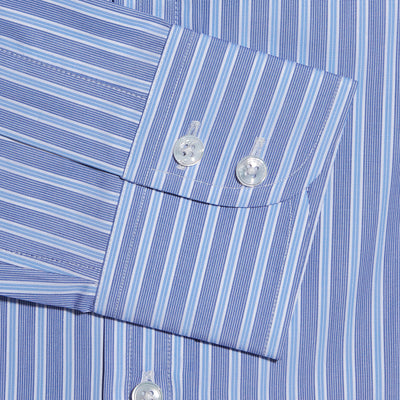 Contemporary Fit, Cutaway Collar, Two Button Cuff Shirt In Navy & White With Light Blue Stripe