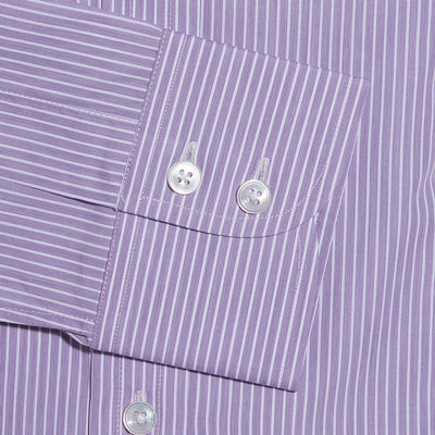 Contemporary Fit, Cutaway Collar, Two Button Cuff Shirt In Purple With White Stripe