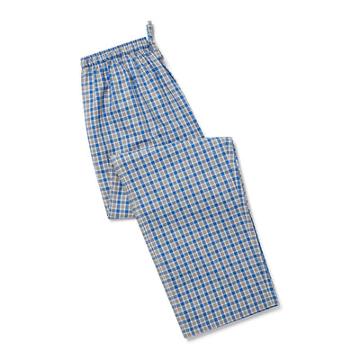 Blue, Grey & White Checked Brushed Cotton Loungewear Bottoms