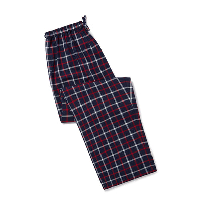 Navy, Red & White Checked Brushed Cotton Loungewear Bottoms